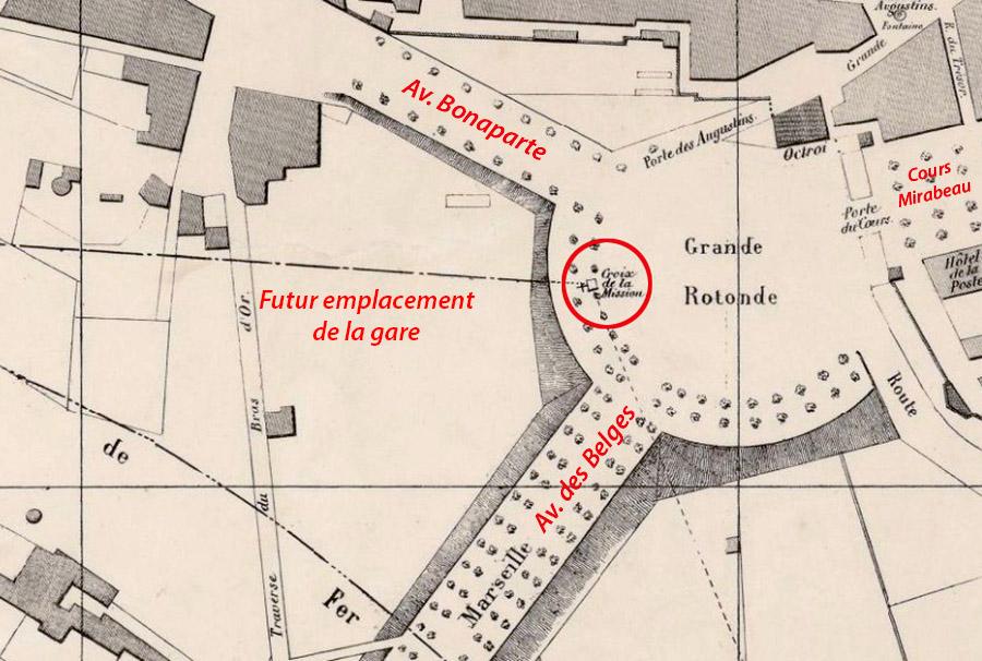 L'emplacement de la croix et le futur emplacement de la gare vers 1850 - Plan par Gasquy - Gallica / BNF (voir sources)