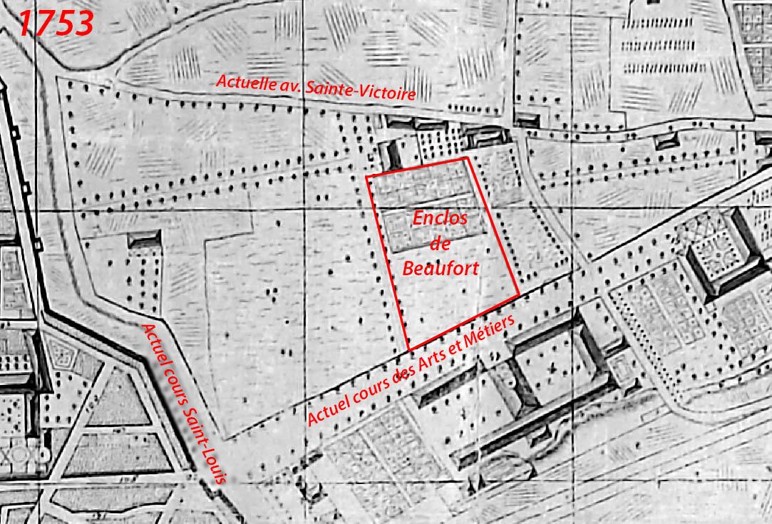Le quartier en 1753 et l'emplacement de l'enclos de Beaufort - Plan : Esprit Devoux
