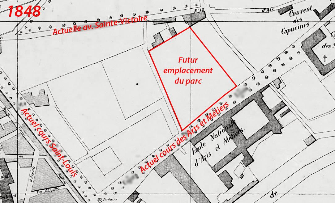 Le quartier une dizaine d'année avant la création du parc - Plan: Gasquy (voir sources)