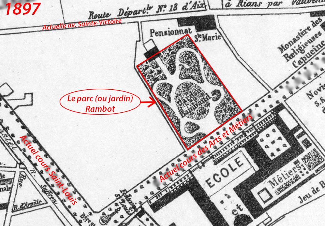 Le quartier vers 1897, le parc était plus petit qu'aujourd'hui - Plan : Achille Makaire (voir sources)