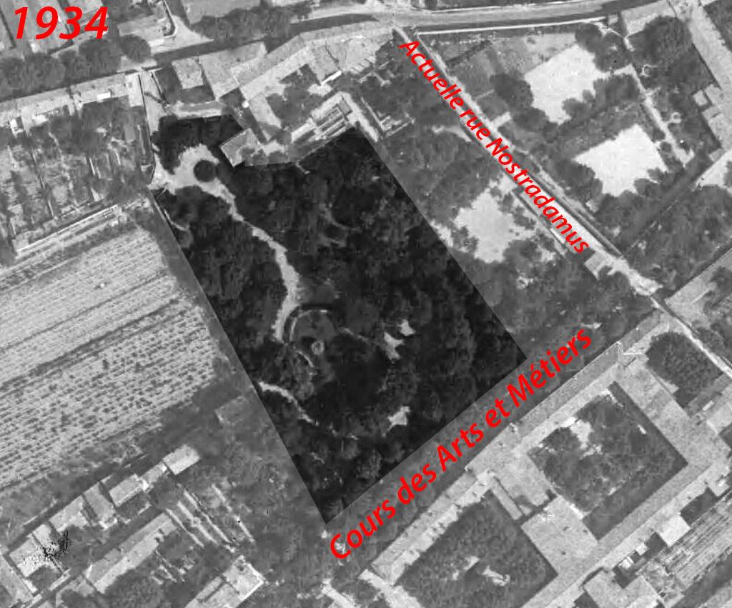 Le parc Rambot en 1934, plus petit qu'aujourd'hui - Photo : © IGN GEOPORTAIL/1934