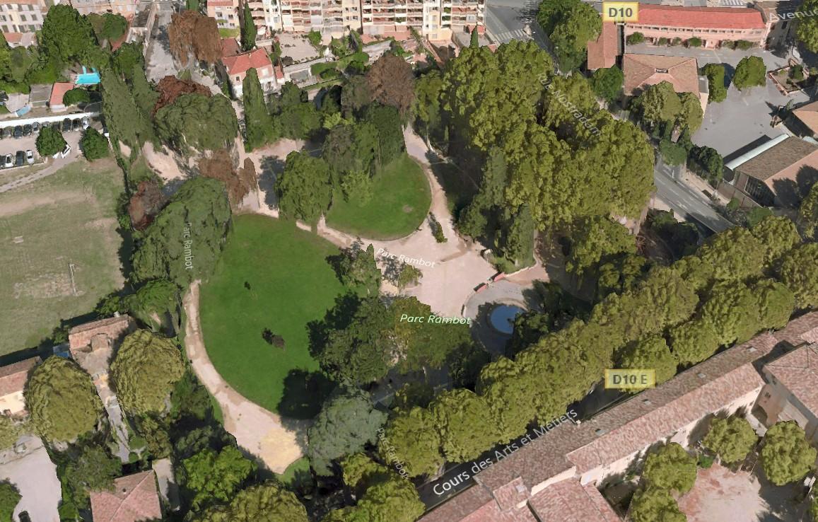 Le parc Rambot de nos jours - Photo : Modélisation 3D Here Maps