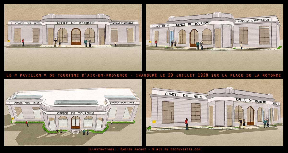L'ancien pavillon du tourisme sous plusieurs angles - Modélisation : Damien Pachot
