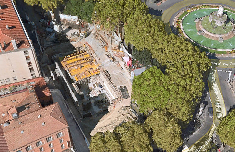 Le chantier de l'Apple Store - Photo: modélisation 3D Here Maps