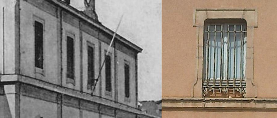 L'ancien style des fenêtres de la gare d'Aix et les fenêtres de la gare des Milles