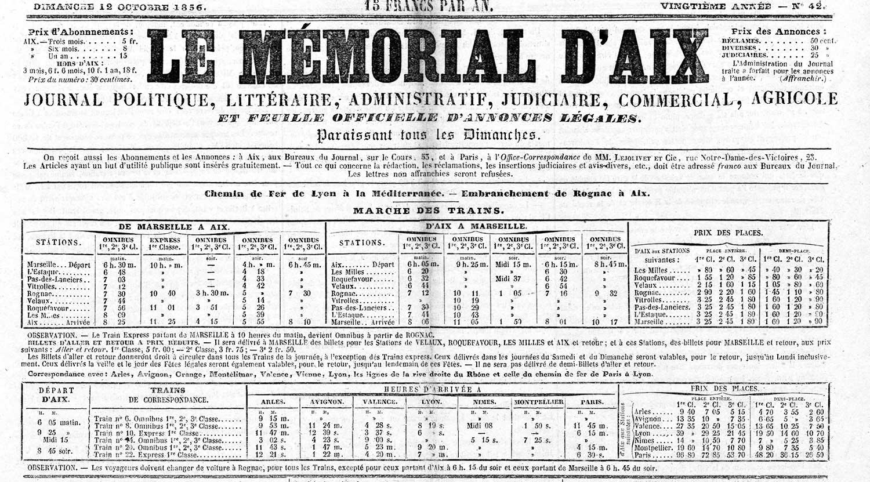 Extrait du Mémorial d'Aix du 12 octobre 1856 (source : voir en fin d'article)