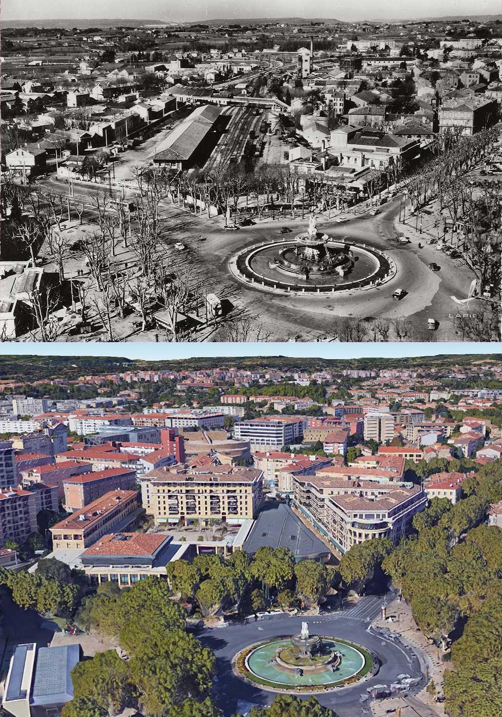 Le quartier de l'ancienne gare d'Aix avec 50 ans d'écart. Photo du haut: lien en bas d'article (dans les sources) Photo du bas - Google Earth