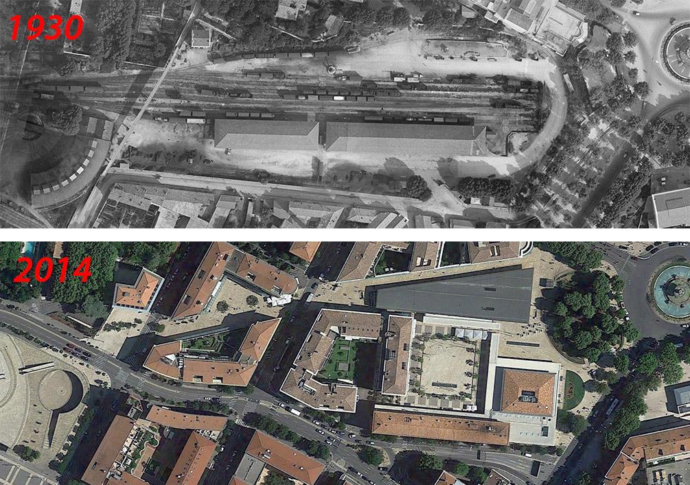 L'évolution du quartier de la gare de 1930 à 2014 - Photo du haut : © IGN GEOPORTAIL/1930 - Photo du bas : Google Maps