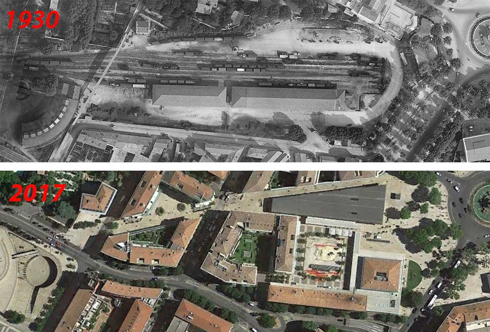 L'évolution du quartier de la gare de 1930 à 2014 - Photo du haut : © IGN GEOPORTAIL/1930 - Photo du bas : Google Maps