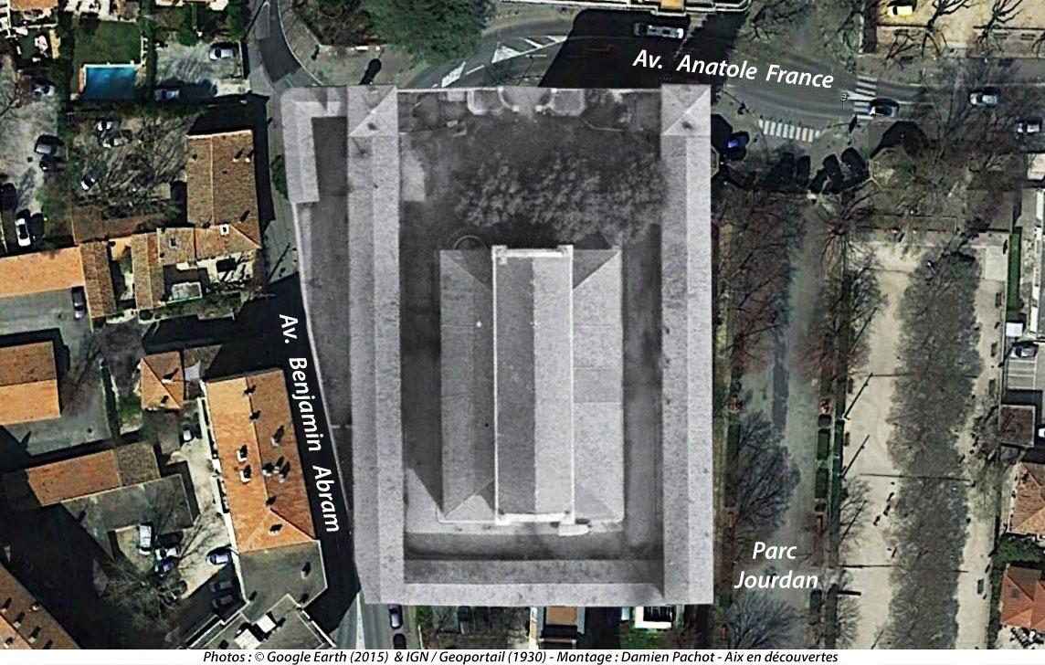 L'emplacement exact qu'occupaient les anciens abattoirs d'Aix entre 1855 et 1930