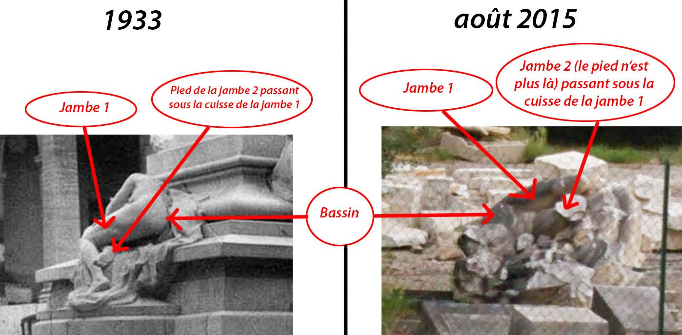 Comparaison entre le monument en 1933 et ses vestiges en 2015 - Photos : Gallica et Google Street-View
