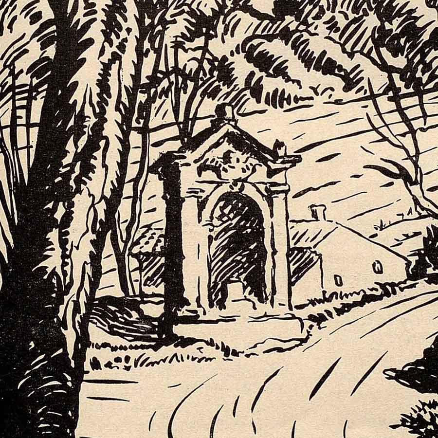 """Illustration de l'oratoire du pont des Trois Sautets dans la revue """"Le Feu du 15 mai 1935 (page 107)"""