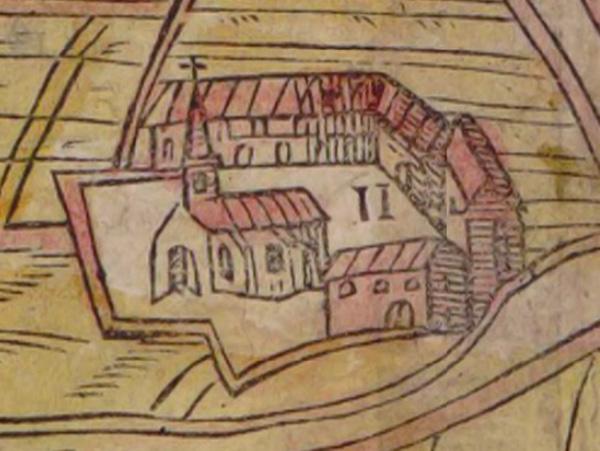 La maladrerie Saint Lazare - Plan : Belleforest 1575 / BNF - Gallica