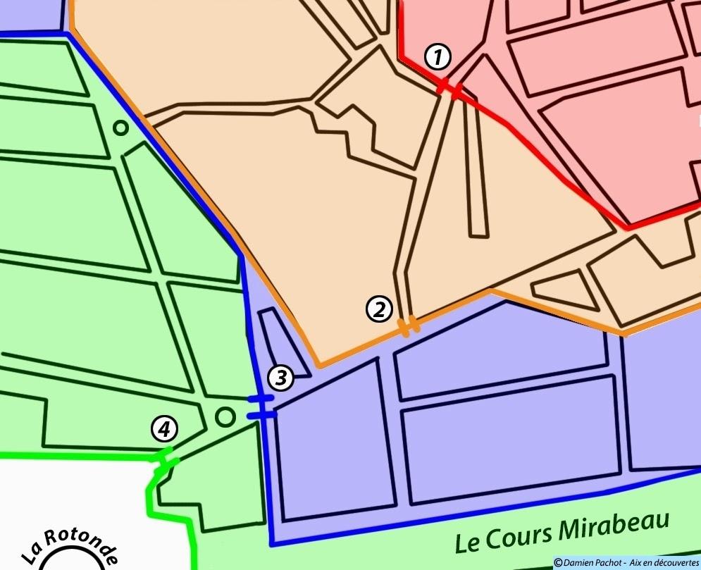 Les différents emplacements de la porte sud-ouest de la ville au fil des agrandissements. Illustration: © Aix en découvertes