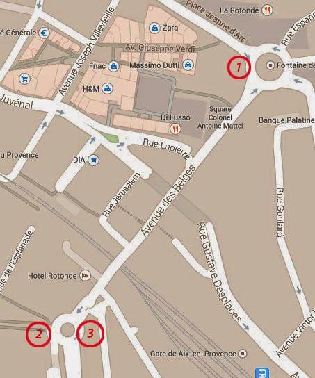 Les emplacements de la Croix de la mission au fil du temps: - 1: Place de la Rotonde dès le 24 Avril 1820. - 2: Près de l'ancien portail de Montperrin à partir de 1920-(1930)? - 3: A l'opposé de l'ancien portail de Montperrin à partir de 1985(?) Photo: Google Maps.