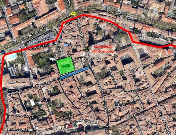 Les limites d'Aix au XVe siècle - Photo: Google Maps