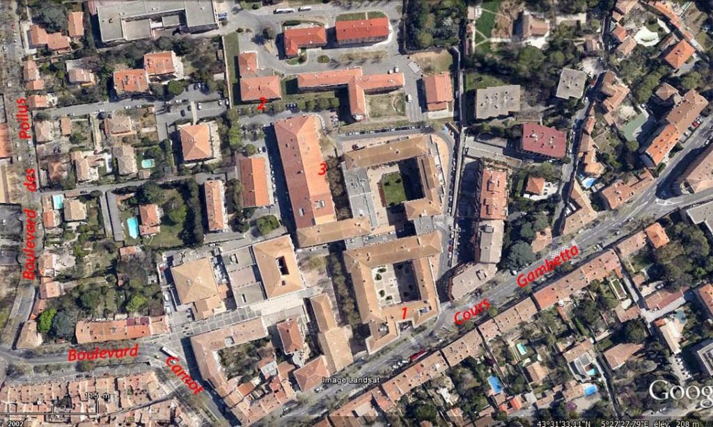 Vue aérienne actuelle du quartier de l'ancienne Caserne Forbin (Aujourd'hui Espace Forbin) Photo: Google Maps