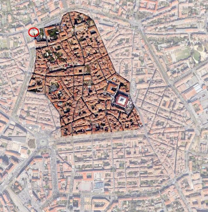 Les limites d'Aix vers le XIVe siècle. Le cercle rouge indique l'emplacement de la Tourreluque