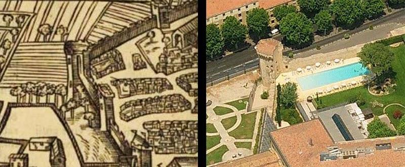 La Tourreluque représentée en 1575 et de nos jours, sa forme générale est inchangée malgré les siècles Illustration de gauche: François de Belleforest Photo de droite; Bing Maps