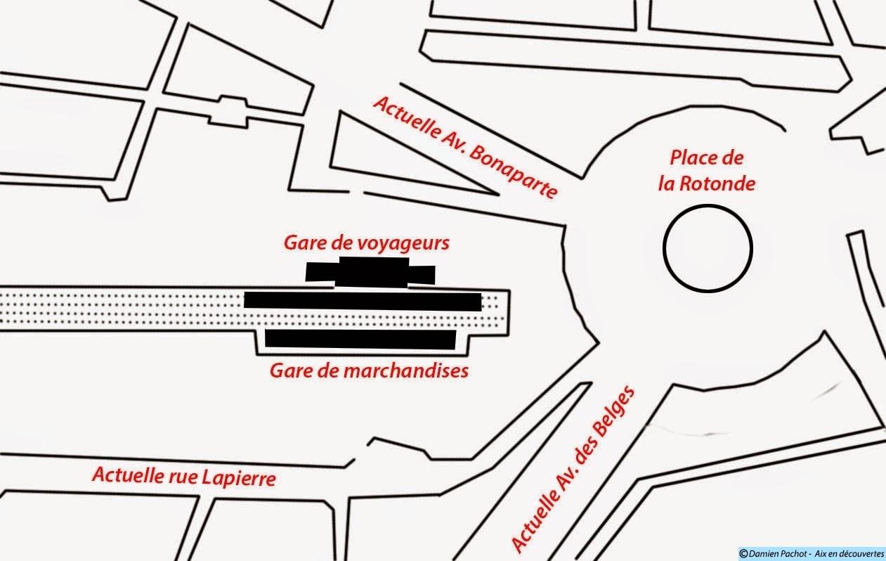 Le quartier de l'ancienne gare vers 1869 Illustration: © Aix en découvertes