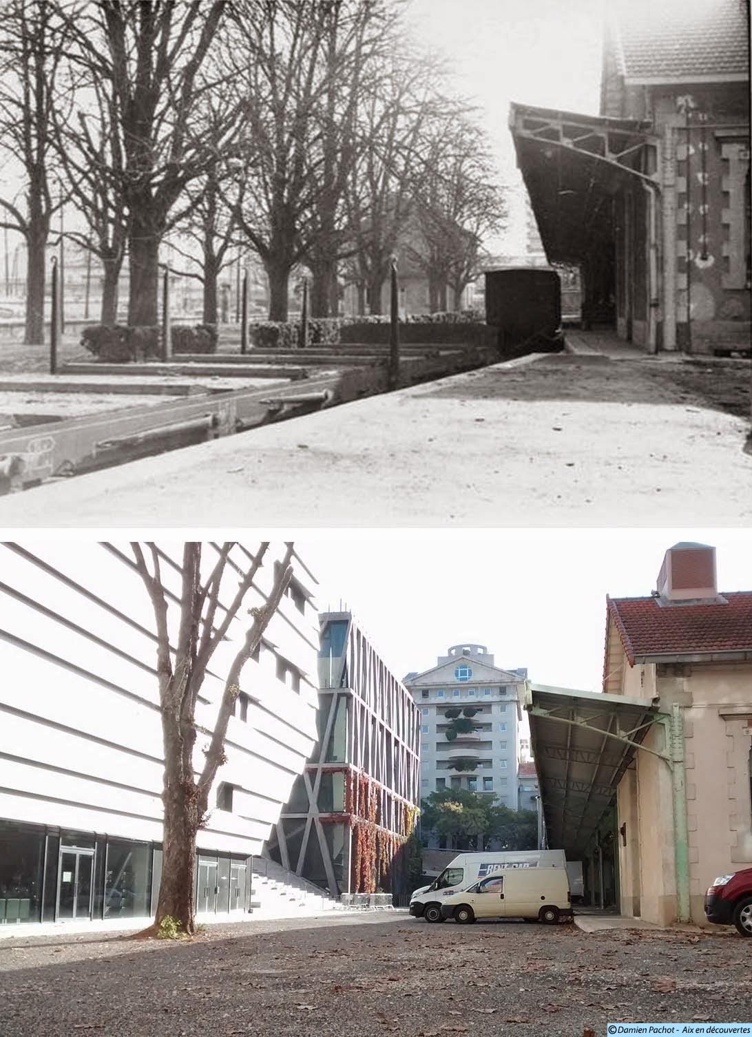 L'ancien quai de déchargement de la manufacture d'allumettes Photo du haut: lien en bas d'article (dans les sources) Photo du bas: © Aix en découvertes