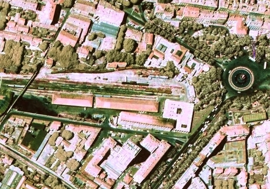 Le quartier de la gare de marchandises vers 1975 Photo: © IGN-GEOPORTAIL/1975