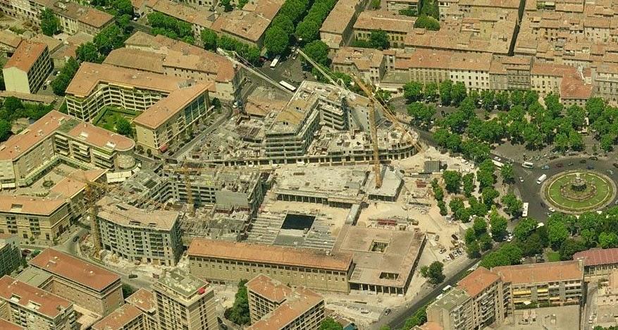 Le chantier du quartier des Allées Provençales vers 2005 Photo: Bing Maps