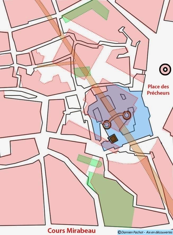 Plan général du quartier du Plais Comtal (voir légende en haut de l'image et les descriptions dans l'article)