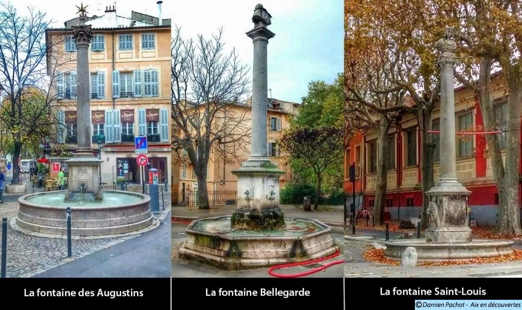 Les colonnes présentes sur ces trois fontaines proviennent du mausolée antique