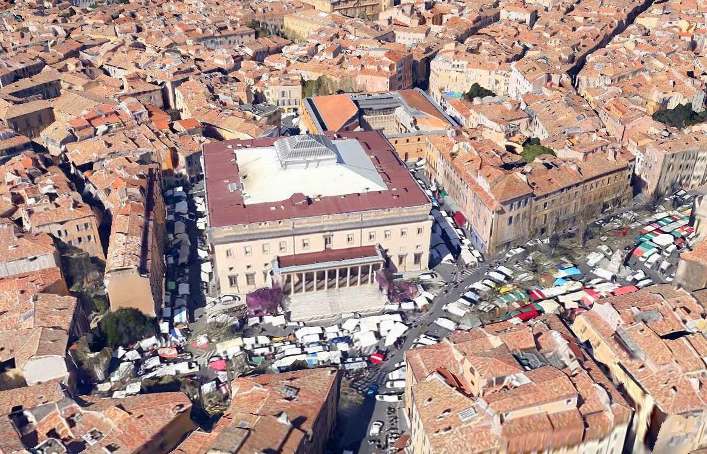 Le quartier du palais de justice à Aix en Provence de nos jours
