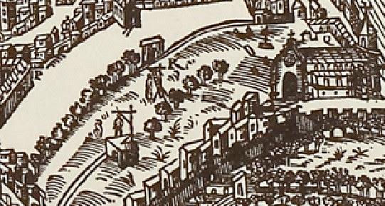 Les gibets de la place des Prêcheurs au XVIe siècle. A droite: l'actuelle église des Prêcheurs Plan de Belleforest - 1575