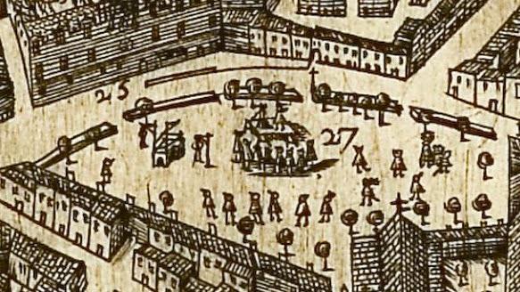 Les exécutions sur la place des Prêcheurs au XVIIe siècle Au second plan: le Portalet. En bas à droite: l'actuelle église des Prêcheurs Plan de Maretz - 1623