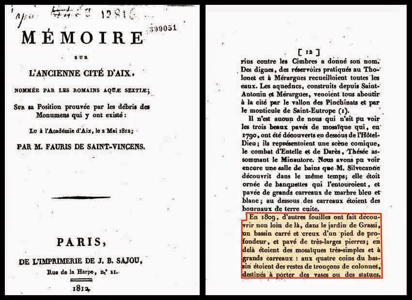 """Extraits du livre """"Mémoire sur l'ancienne cité d'Aix"""", dans lequel on découvre que des vestiges auraient été mis au jour dans cette zone des 1809."""