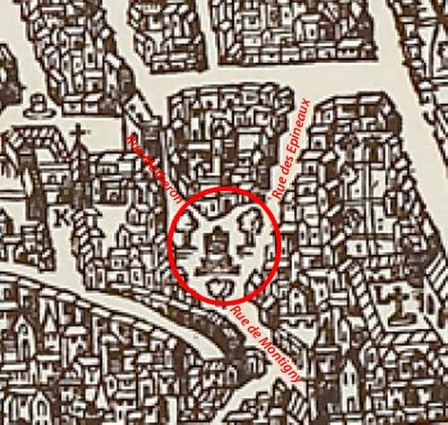"""La place des trois ormeaux sur un plan d'Aix de 1575 Belleforest - """"La cosmographie universelle de tout le monde"""""""