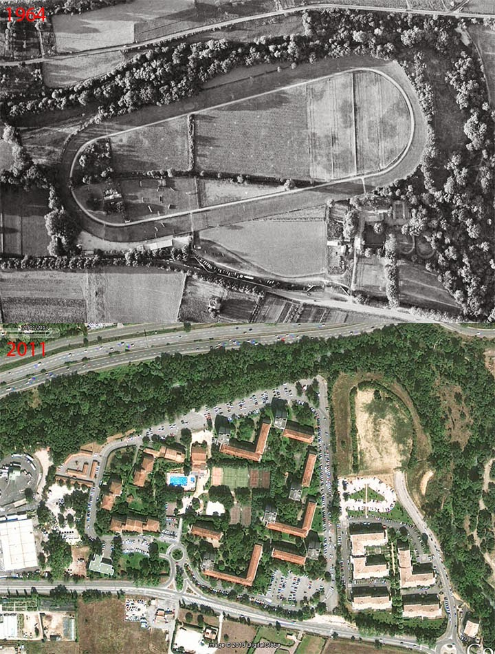L'hippodrome de la Parade en 1964 et de nos jours. Photo du haut: © IGN-GEOPORTAIL/1964 Photo du bas : Google Maps