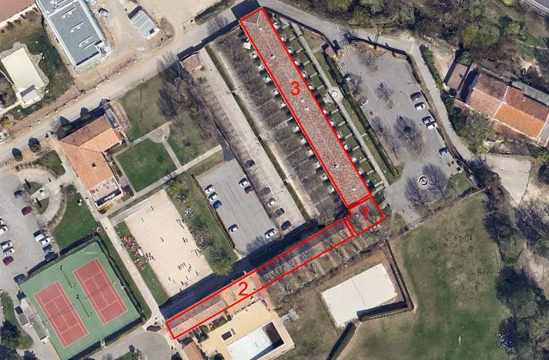 L'ordre de construction des différents éléments formant les anciennes Infirmeries Photo: Google Maps