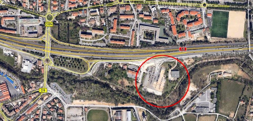 La zone où furent retrouvés des vestiges de l'ancien Monument Mirabeau - Photo Google Maps