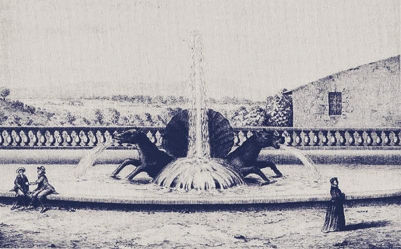 La fontaine des Chevaux Marins à l'extrémité ouest du Cours Mirabeau