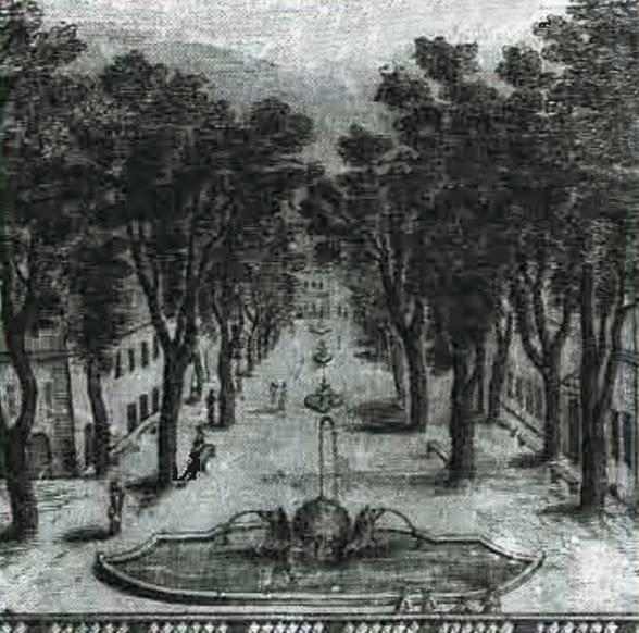 La fontaine et le Cours ainsi qu'une petite partie de la balustrade en bas de l'image