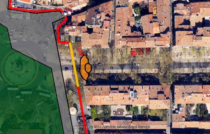 La zone entourant l'ancienne fontaine des Chevaux Marins avant sa destruction. (Tentative de restitution) - Photo: Google Maps