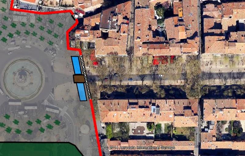 Le fossé, la grille et le pont à l'entrée du Cours. La future place de la Rotonde a fait son apparition (Tentative de restitution) - Photo: Google Maps