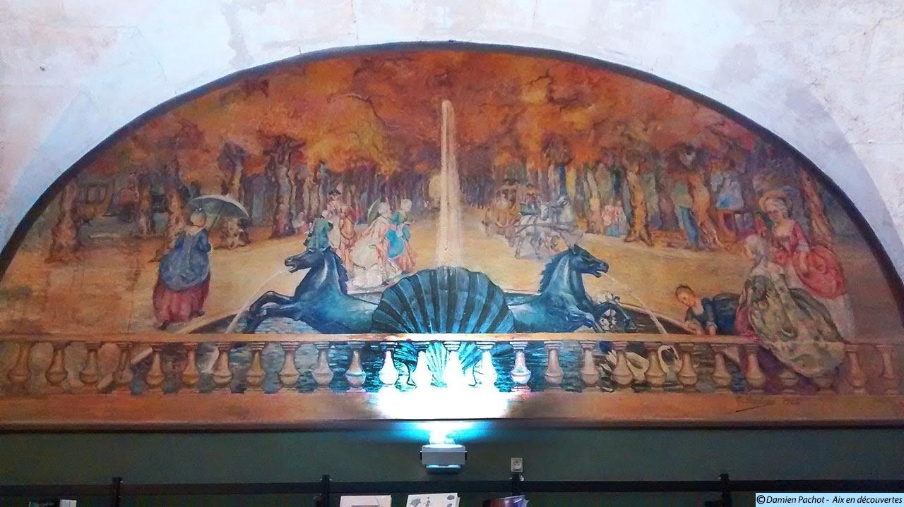 La fresque de la fontaine des Chevaux Marins par Lombard en 1924