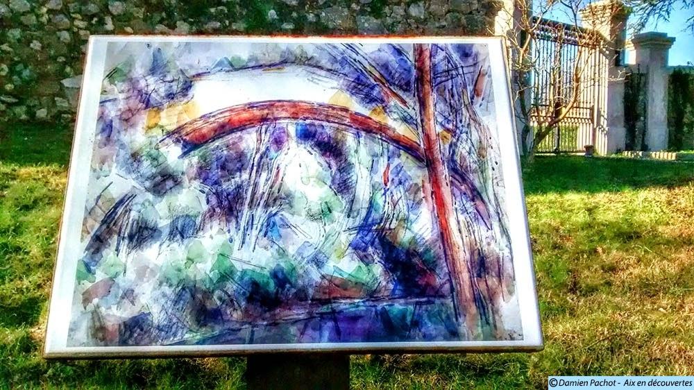 Une reproduction d'un tableau du pont par Paul Cézanne sur la rive sud du pont