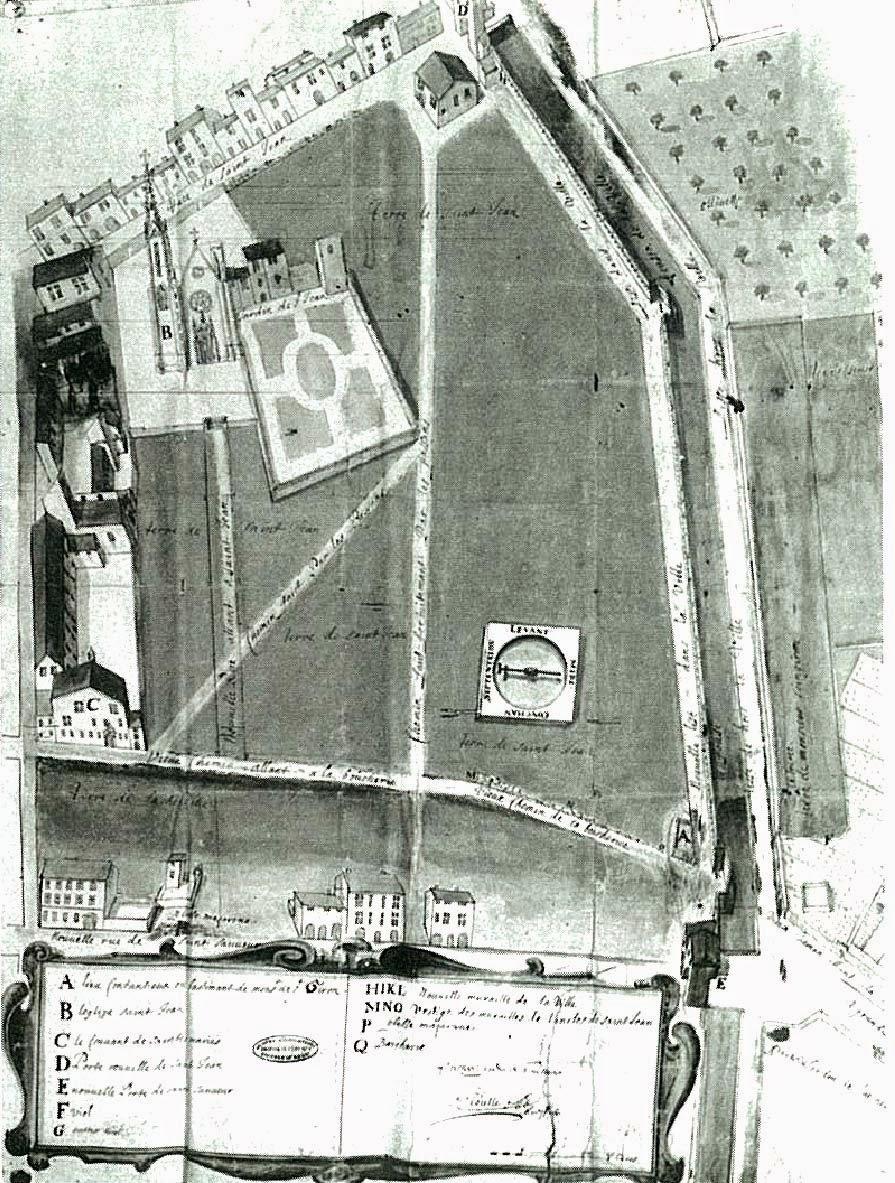 La zone accueillant l'église et le prieuré avant les travaux de Viany vers 1650 Illustration: Rudolph Ziegler