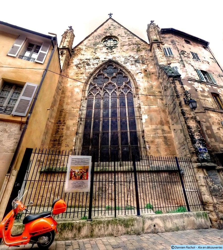 Le grand vitrail du chevet de Saint-Jean-de-Malte dégagé au XIXe siècle Visible depuis la rue d'Italie