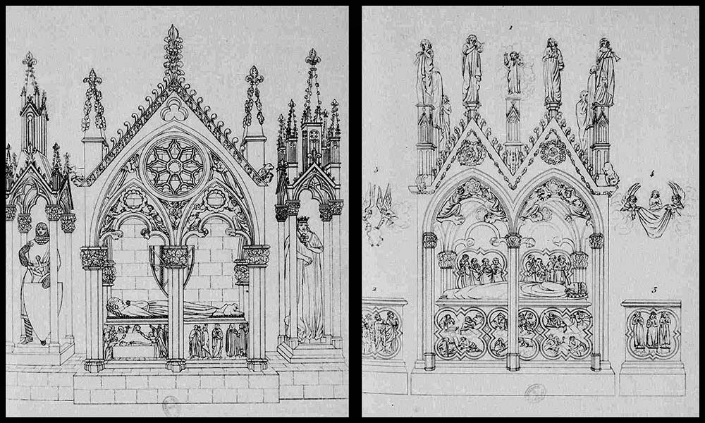 Les tombeaux tels qu'ils étaient avant leur destruction - A gauche: celui des comtes de Provence dans le transept nord - A droite: celui de Béatrix de Provence dans le transept sud Illustrations par Aubin-Louis Millin vers 1808 - (B.N.F. - Lien dans les sources)