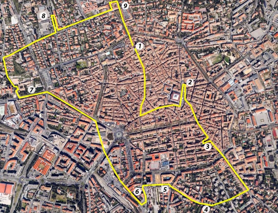 Le tracé de la procession du troisième jour des Rogations à Aix - Photo: Google Earth