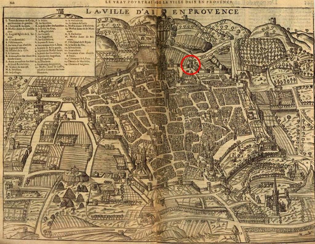 La tour Bellegarde (entourée en rouge) représentée sur un plan d'Aix en 1575 Plan: Belleforest - 1575 (Voir dans les sources)