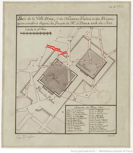 Le plan du projet de construction du futur Palais de Justice et des nouvelles prisons par Ledoux Plan: Claude-Nicolas Ledoux - Gallica-BNF (Voir dans les sources)
