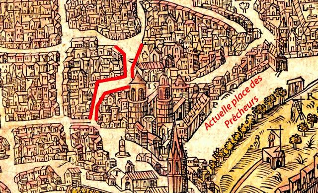 La rue et le quartier de l'ancien Palais Comtal sur un plan de 1575 Plan: Belleforest - Gallica-BNF (Voir dans les sources)